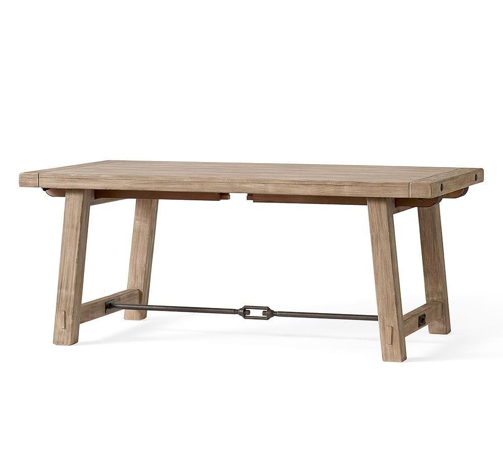"Popular Seadrift Benchwright Pedestal Extending Dining Tables With Benchwright Extending Dining Table, Seadrift, 86"" – 122"" L (View 5 of 25)"