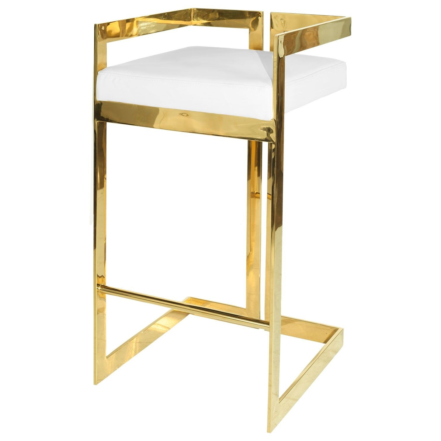 Preferred Hearst Bar Tables Intended For Hearst Brass & White Pu Leather Bar Stool (Seconds) (View 6 of 25)