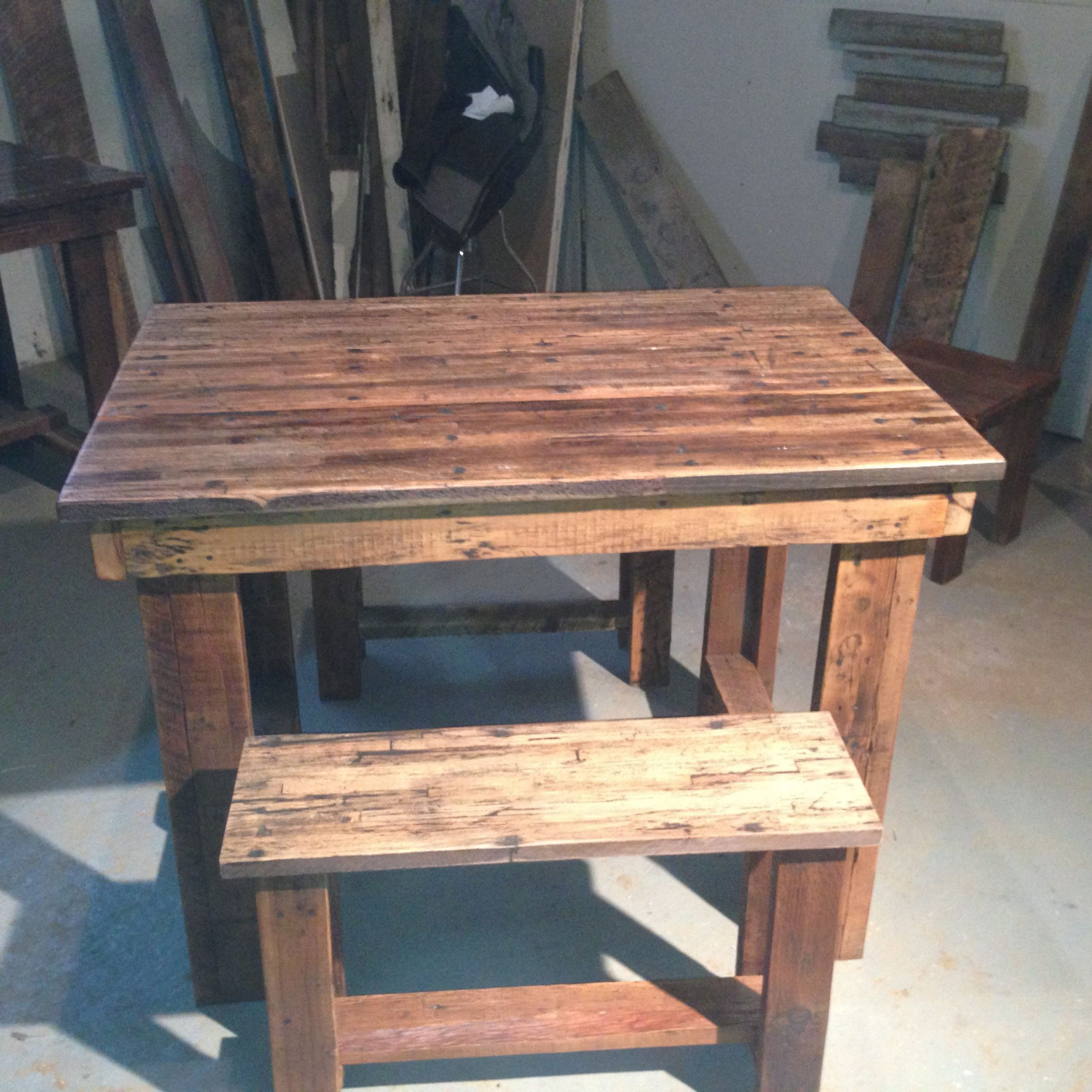 Preferred Table And Benches Made From Old Tractor Trailer Flooring In Herran Dining Tables (View 16 of 25)