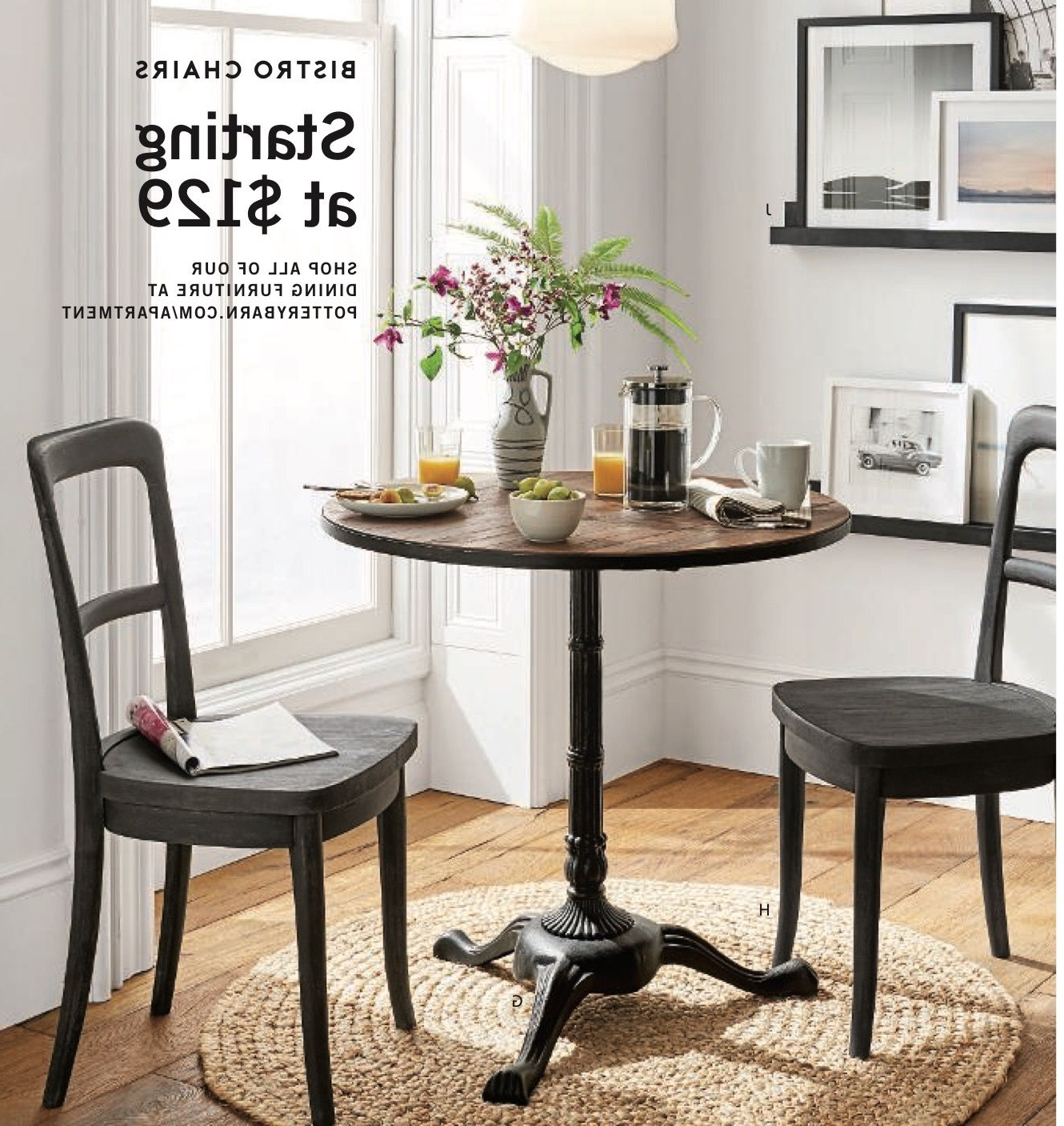 Rae Bistro Table, Cline Bistro Chairs, Round Jute Rug for Recent Rae Round Pedestal Dining Tables