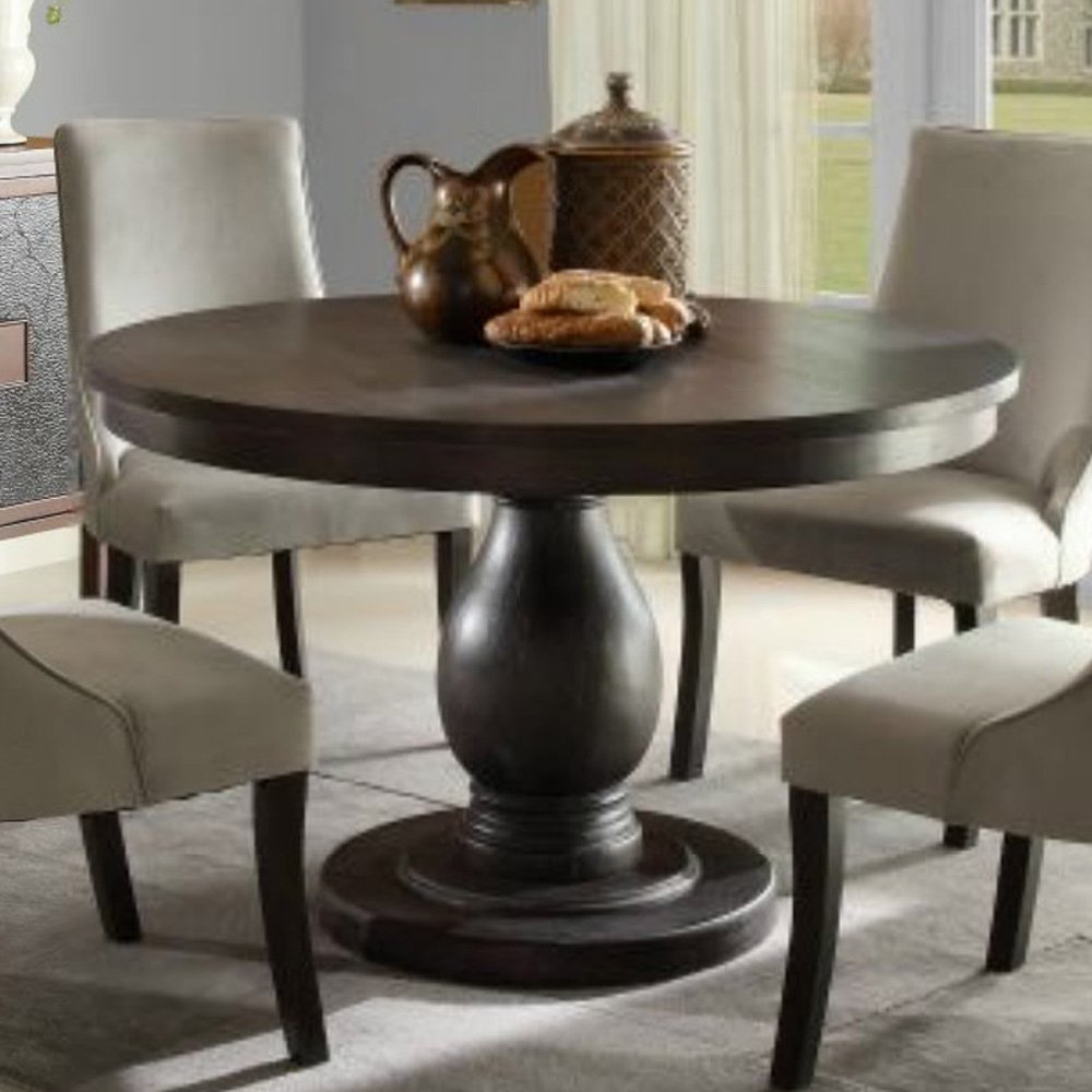 Rae Round Pedestal Dining Tables for Well-liked Homelegance Dandelion Round Pedestal Dining Table In Distressed Taupe -  Walmart