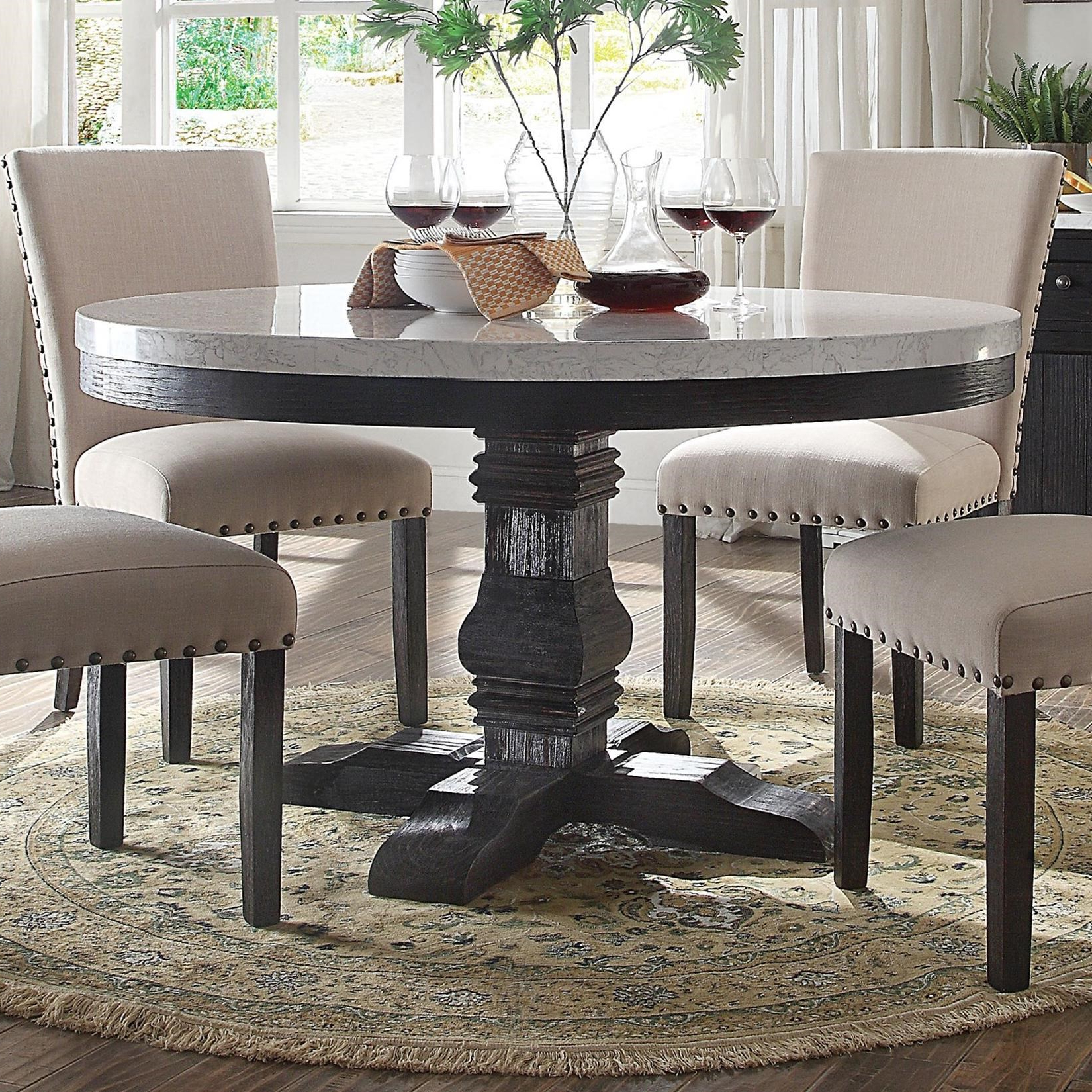 Recent Acme Furniture Nolan Round Pedestal Dining Table With White intended for Nolan Round Pedestal Dining Tables