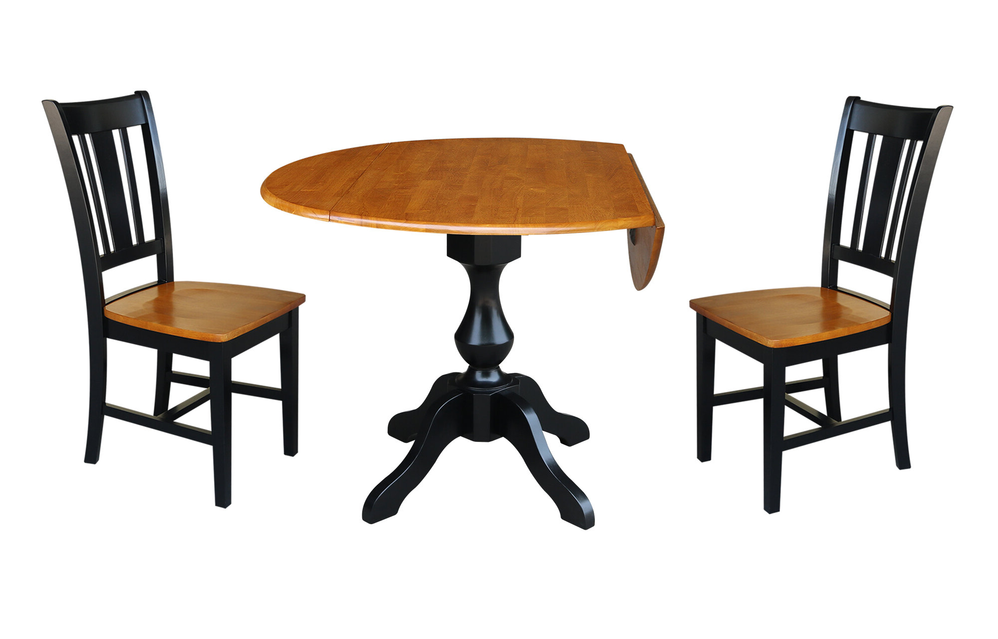 Recent Augu Round Top Pedestal Extending 3 Piece Drop Leaf Solid Wood Dining Set pertaining to Rae Round Pedestal Dining Tables