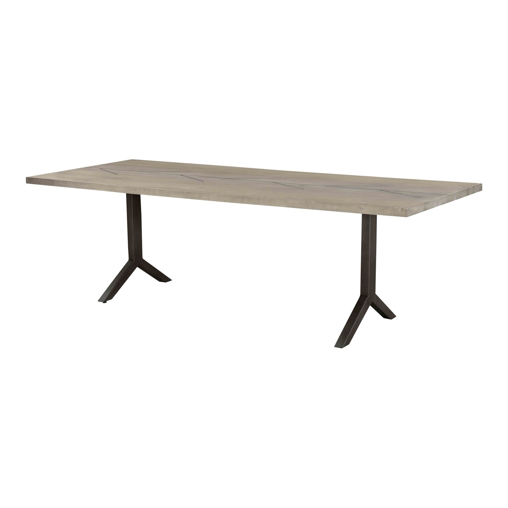 Recent Aurelle Home Bucha Grey Solid Oak With Metal Inlay Modern Dining Table throughout Menlo Reclaimed Wood Extending Dining Tables