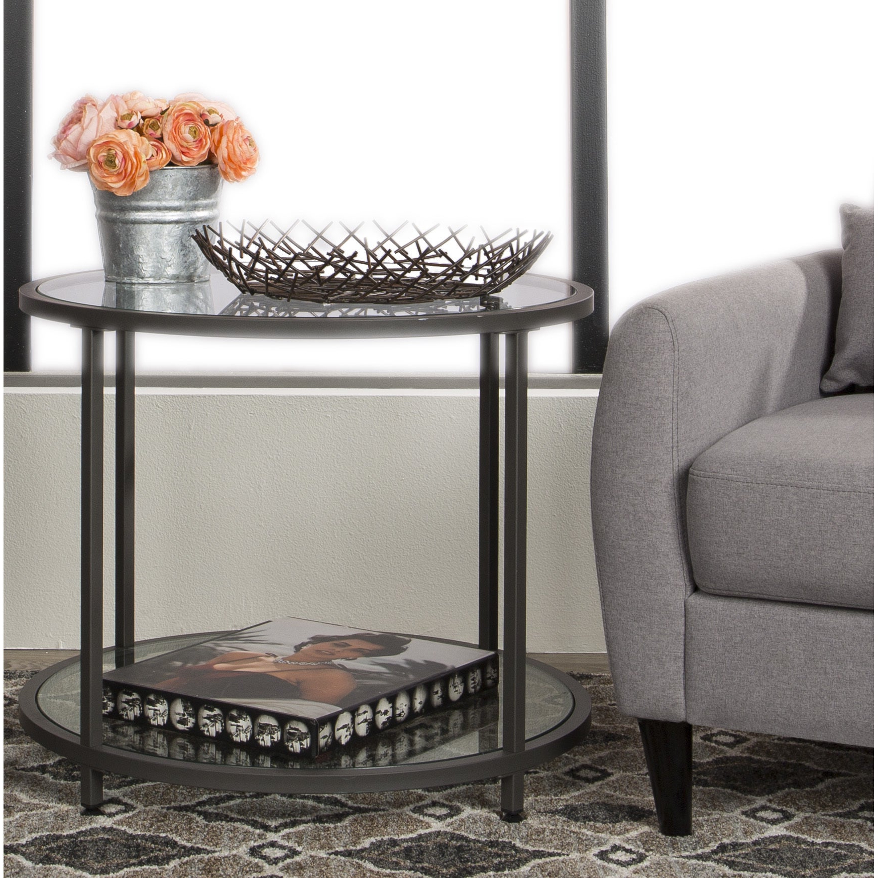 Recent Blair Bistro Tables for Shop Clay Alder Home Blair Pewter Metal Round Side Table