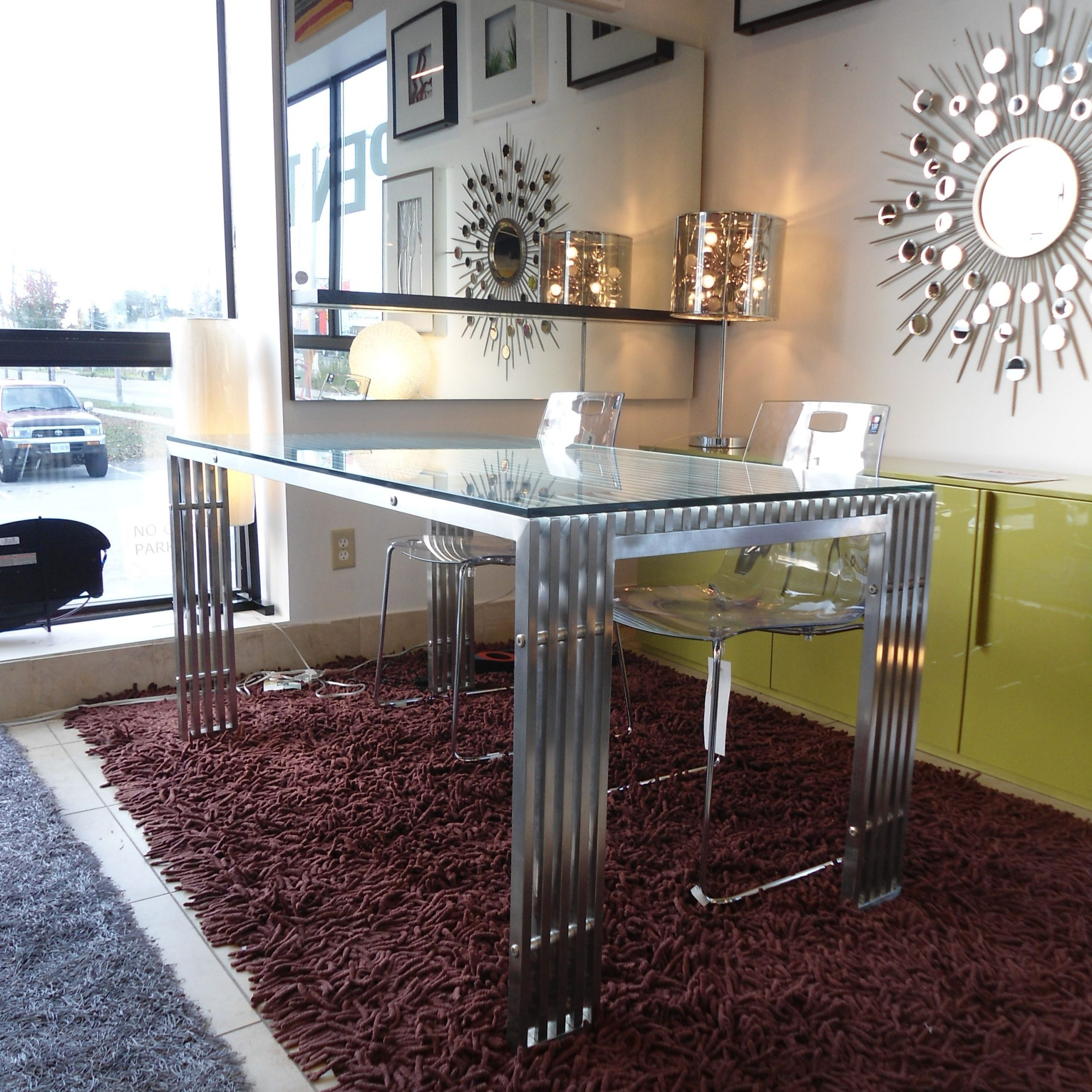 Recent Contemporary Stainless Steel Dining Table With Glass Top with regard to Kipling Rectangular Dining Tables