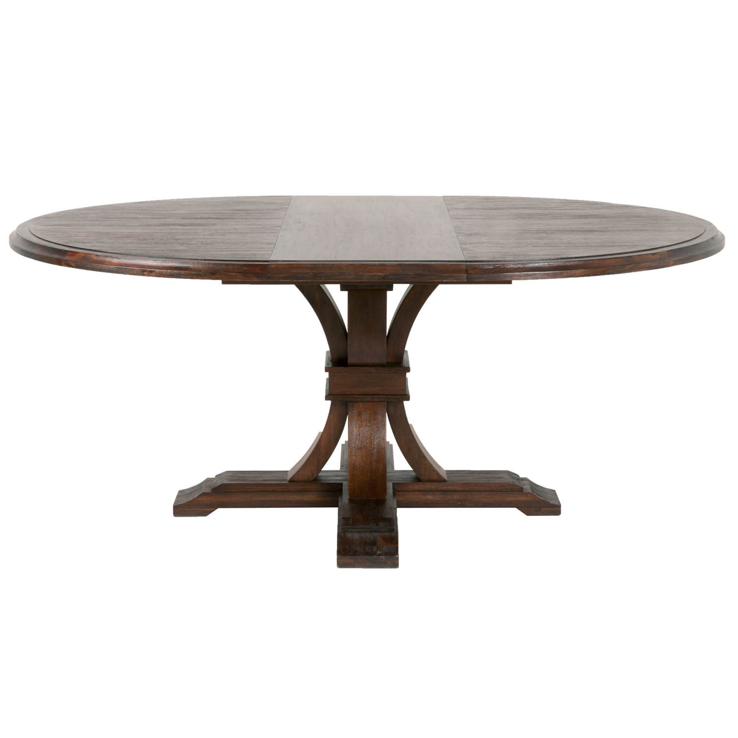 Recent Darby Round Extension Dining Table, Rustic Java - Brown throughout Rustic Mahogany Extending Dining Tables