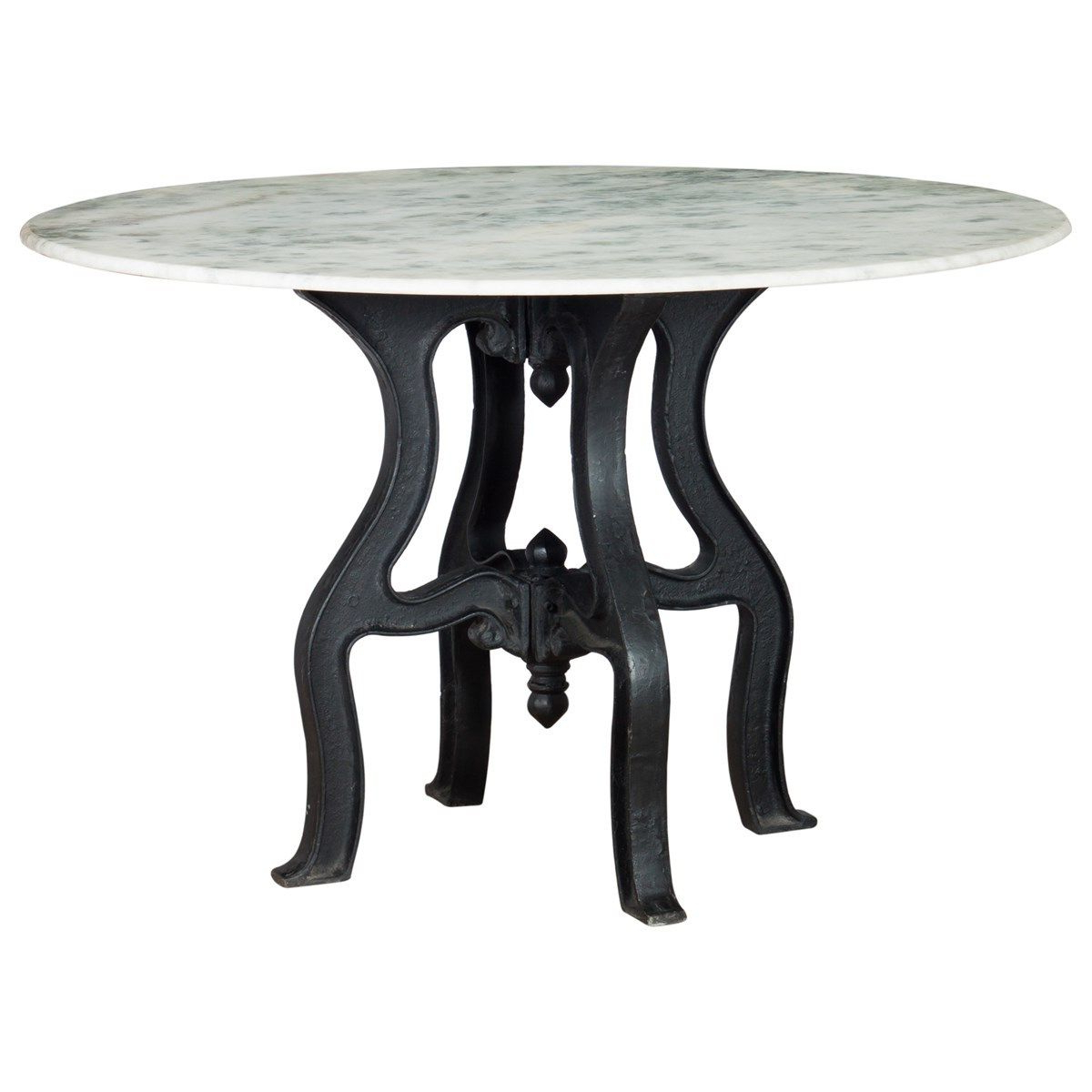 Recent French Industrial White Marble Top Round Dining Table pertaining to Christie Round Marble Dining Tables