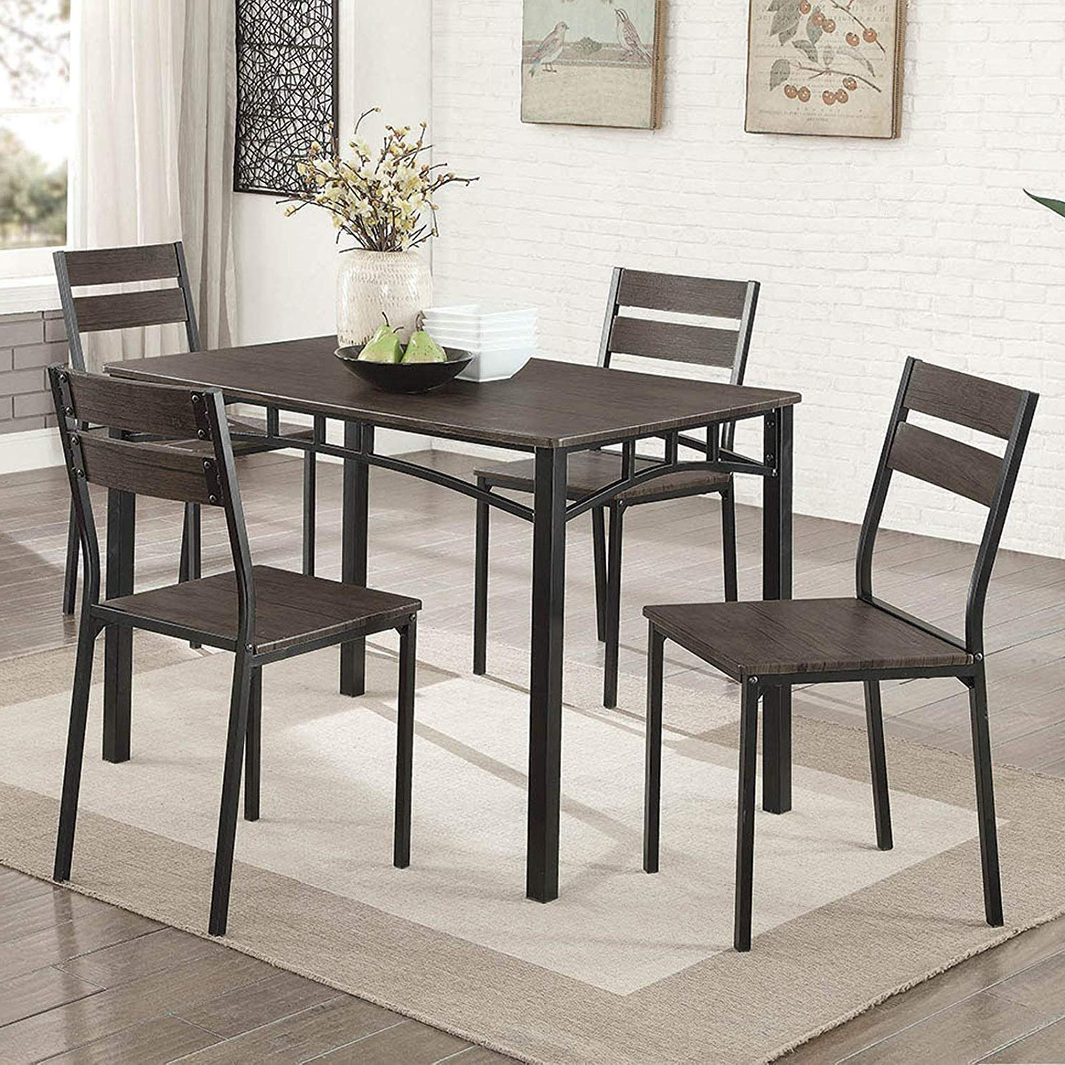 Recent Griffin Reclaimed Wood Dining Tables intended for Amazon - Simple Interior 5 Piece Rustic Dining Set