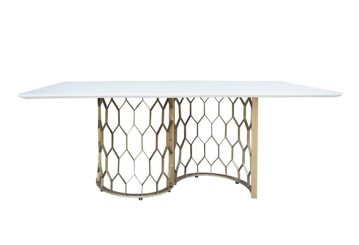 Recent Modrest Faye Modern White Concrete & Antique Brass Dining in Faye Dining Tables