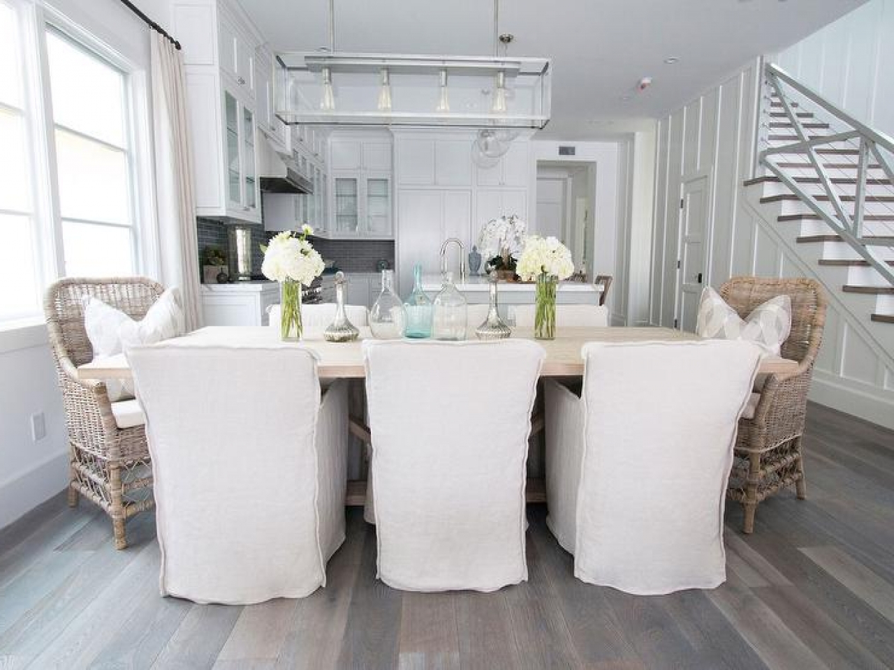 Reclaimed Wood Dining Table With Slipcovered Chairs Room throughout Famous Bowry Reclaimed Wood Dining Tables