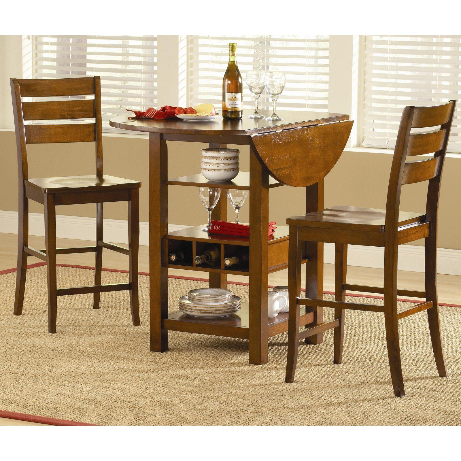 Ridgewood 3 Pc. Counter Height Drop Leaf Dining Set for Well-liked Mahogany Shayne Drop-Leaf Kitchen Tables