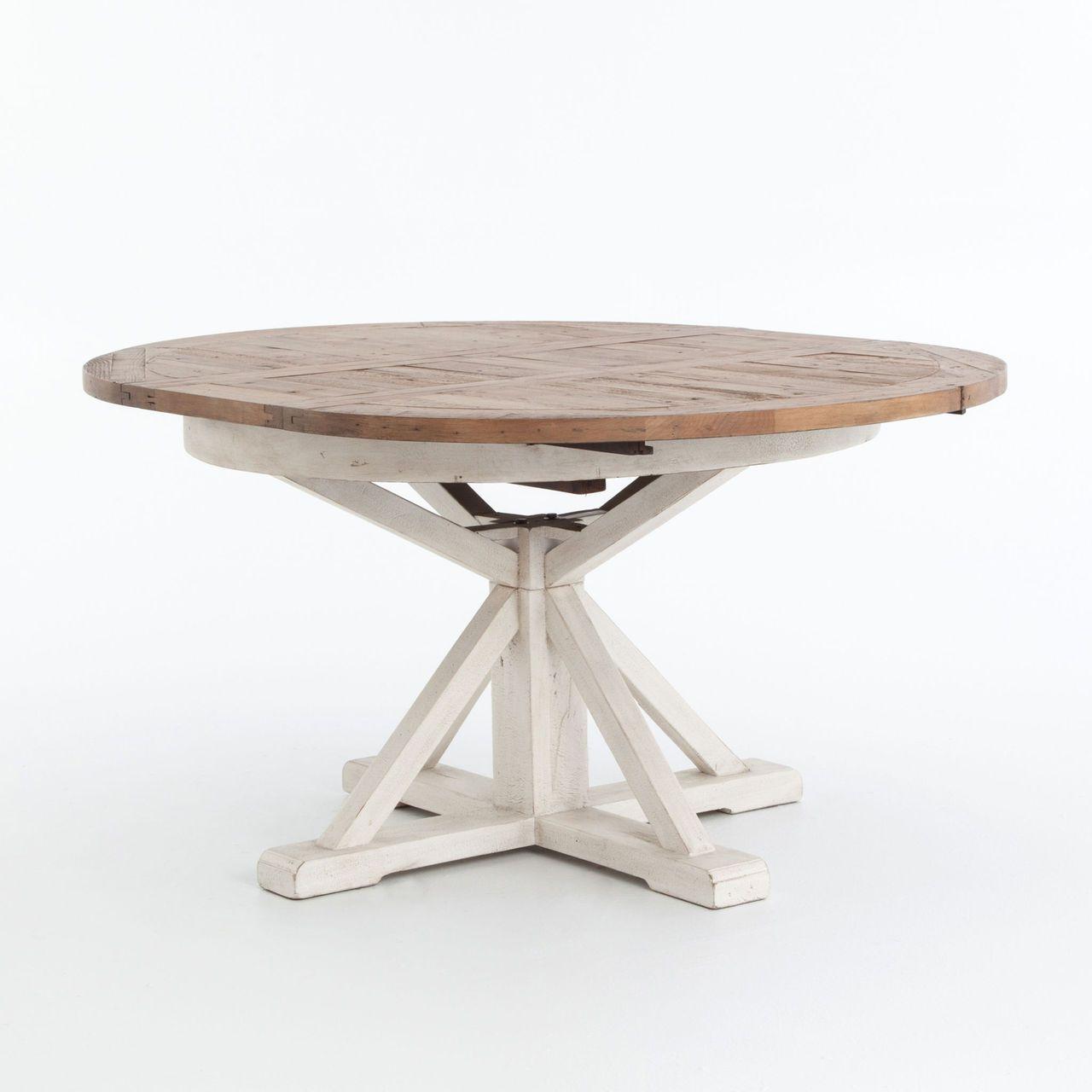 Round intended for Black Olive Hart Reclaimed Pedestal Extending Dining Tables
