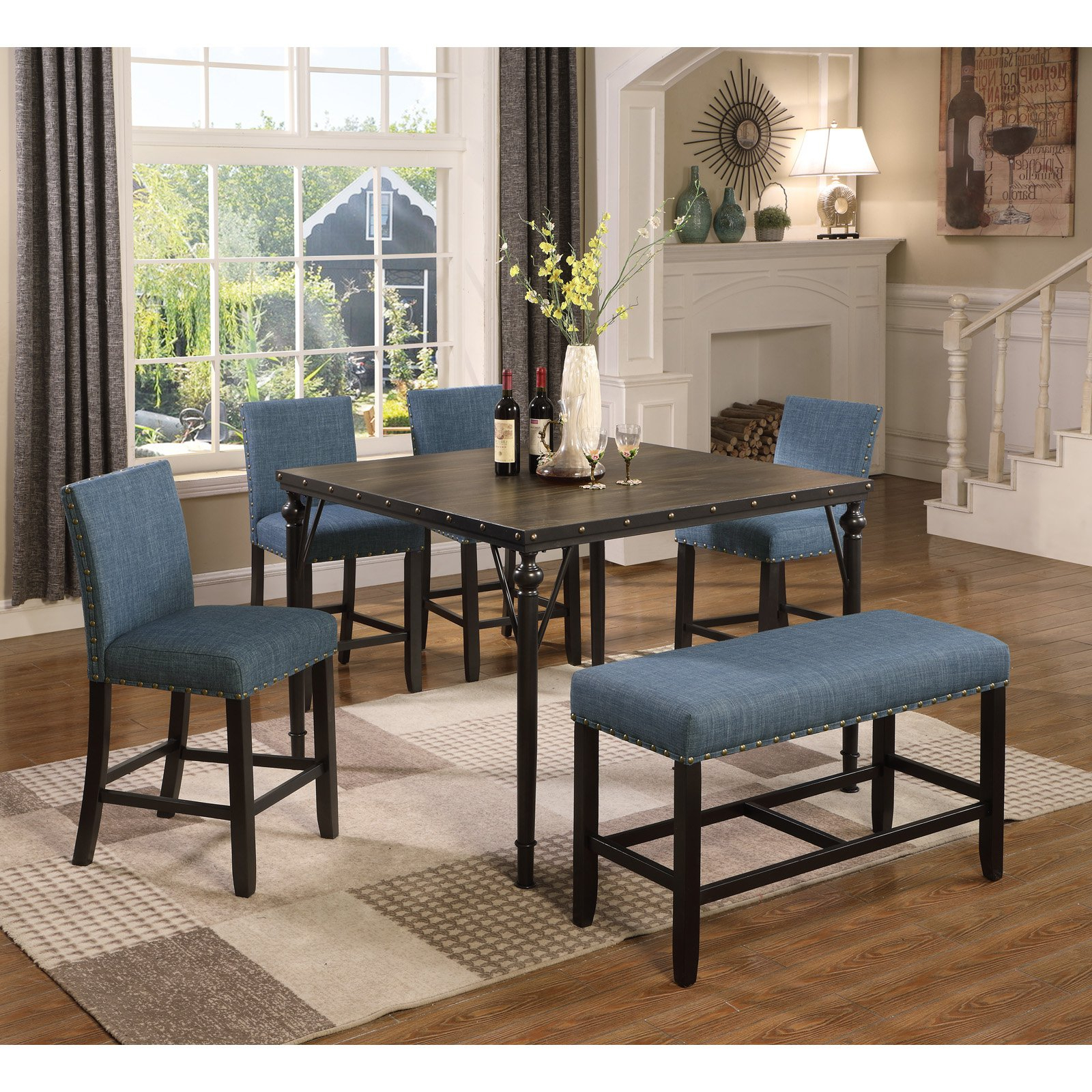 Roundhill Furniture Biony 6 Piece Square Counter Height with regard to Most Recent Benchwright Bar Height Dining Tables