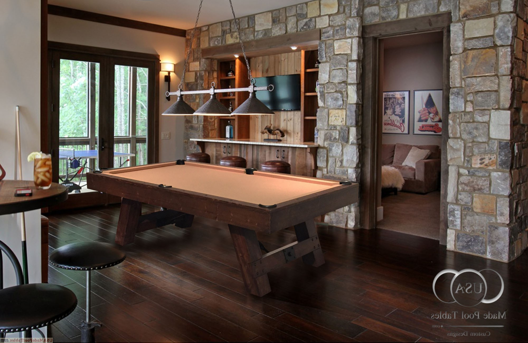 Rustic Billiard Tables : Rustic Pool Tables : Rustic Pool intended for Recent Rustic Mahogany Benchwright Dining Tables