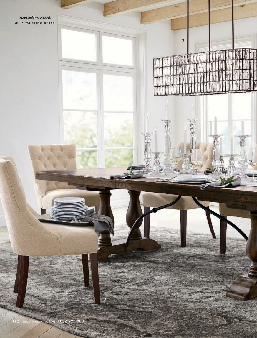 Rustic Brown Lorraine Pedestal Extending Dining Tables Intended For Famous Pottery Barn – Fall 2017 D2 – Lorraine Extending Dining (View 6 of 25)