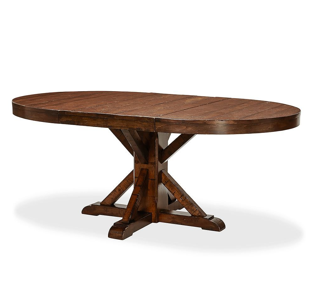 Rustic Mahogany Benchwright Pedestal Extending Dining Tables regarding Well-liked Benchwright Extending Pedestal Dining Table, Alfresco Brown