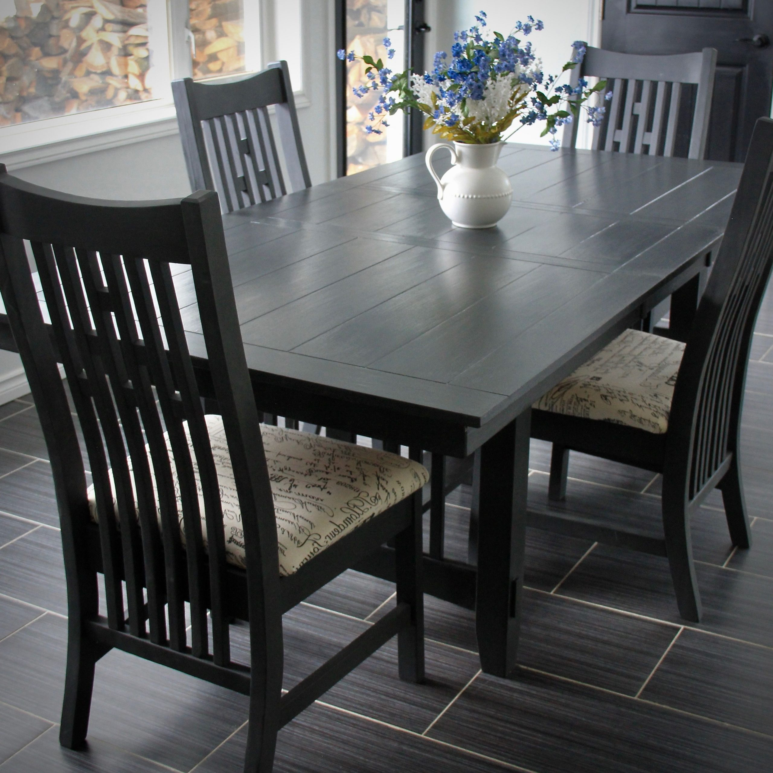 Salvaged Black Shayne Drop Leaf Kitchen Tables Regarding 2019 Mission Style Table Painted In Annie Sloan's Graphite (View 16 of 25)