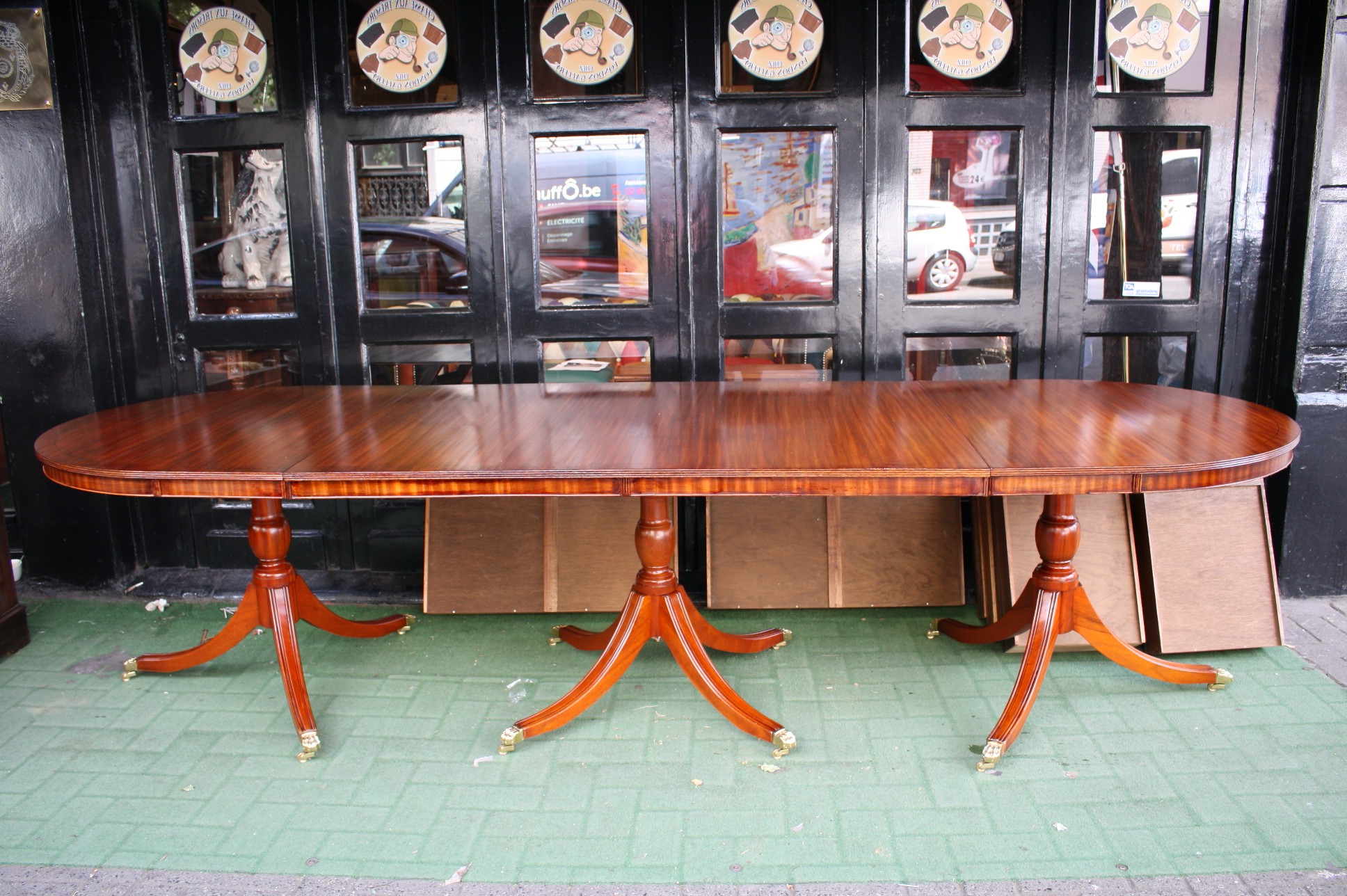 Shaw Dining Tables, English Brown In Most Recently Released Old Regency 3 Pedestals Dining Table – London Gallery (View 11 of 25)
