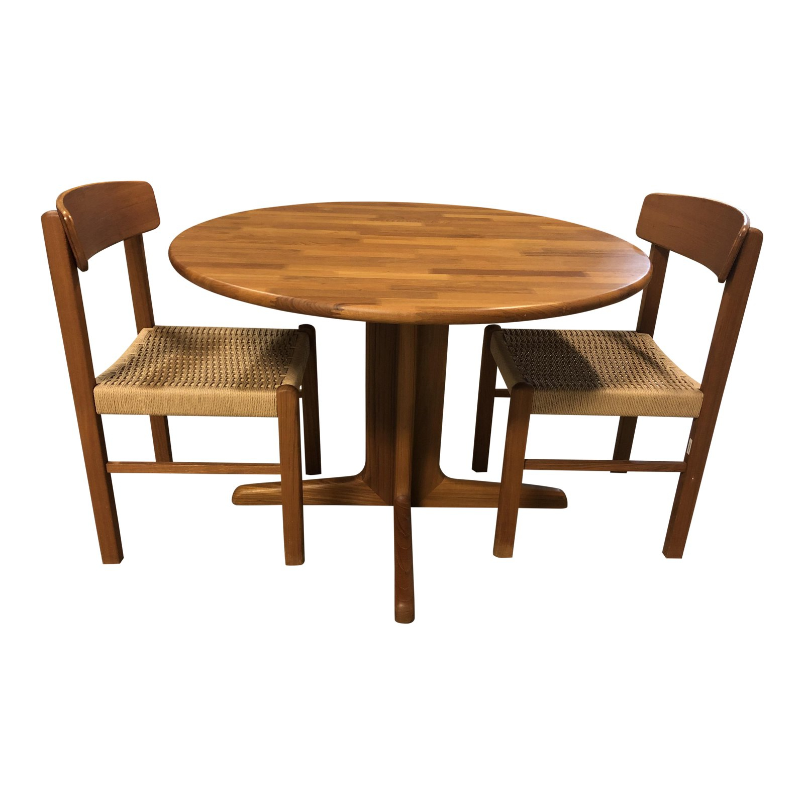 Sun Cabinet – Wood Round Table + Two Side Chairs Original Pertaining To Best And Newest Linden Round Pedestal Dining Tables (View 14 of 25)