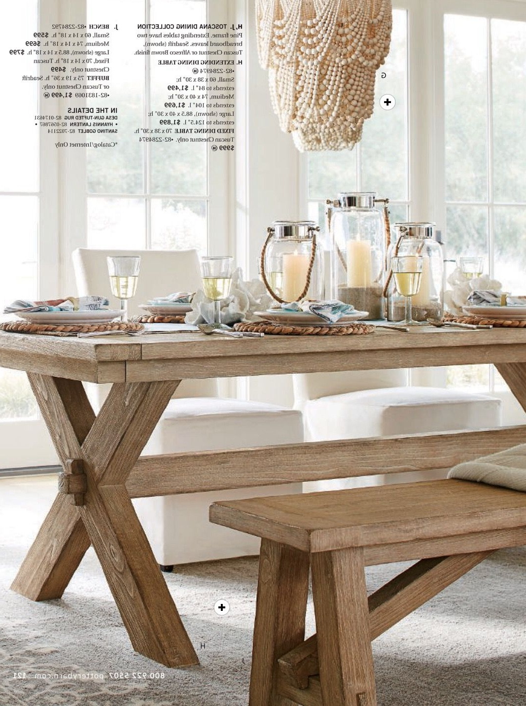 Toscano Dining Table And Bench In Seadrift, Amelia Wood Bead With Well Known Tuscan Chestnut Toscana Pedestal Extending Dining Tables (View 8 of 25)
