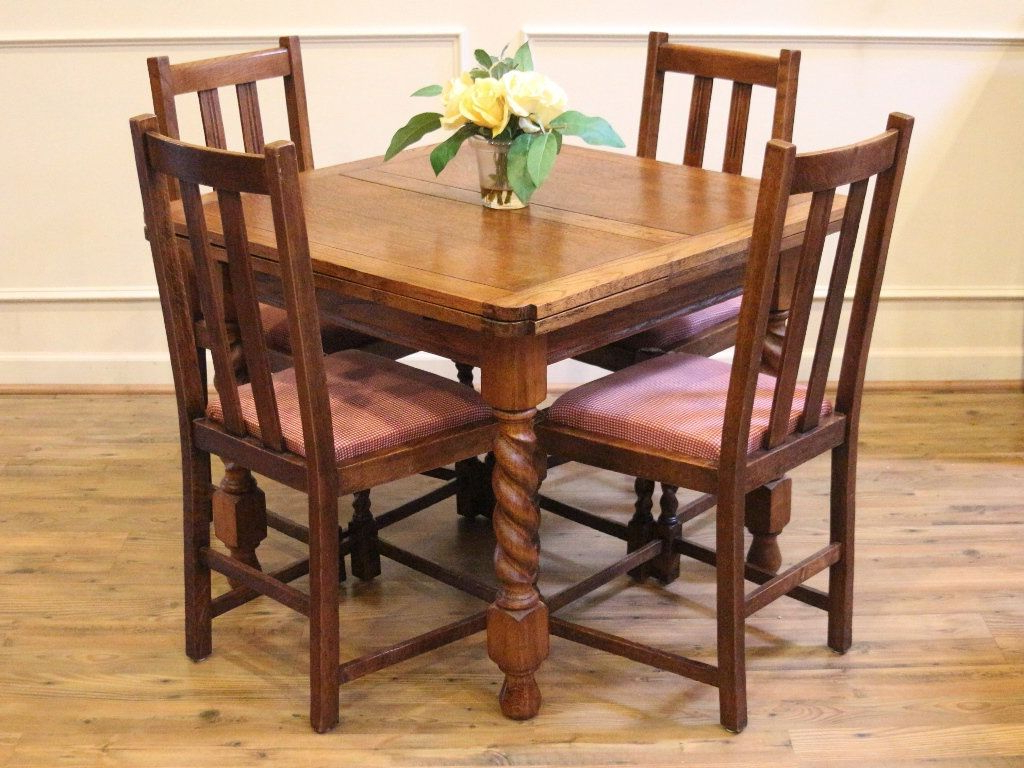 Trendy Antique English Pub Table And Chairs, Barley Twist, Light Intended For Shaw Dining Tables, English Brown (View 4 of 25)