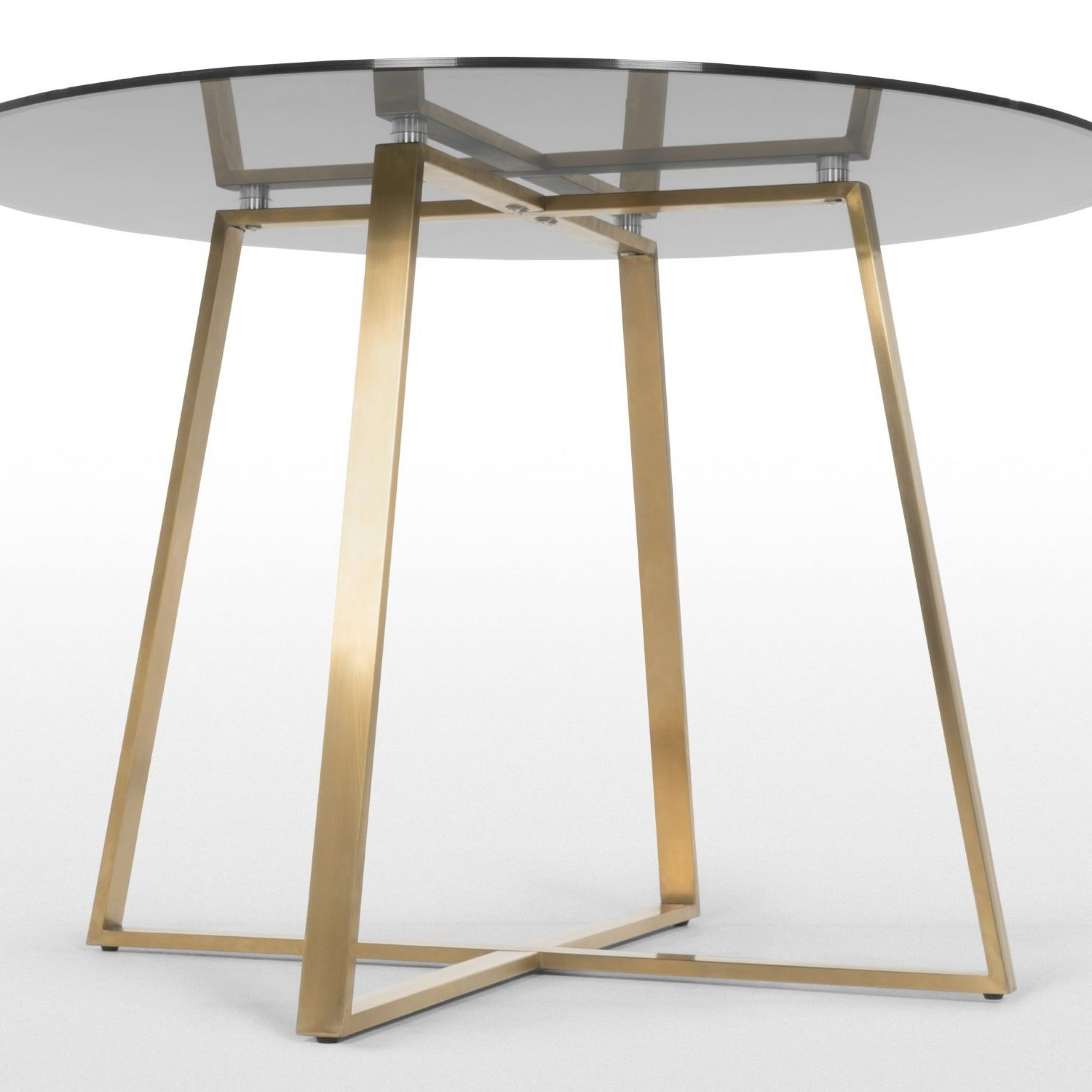 Trendy Montalvo Round Dining Tables With Regard To Haku 4 Seat Round Large Dining Table, Brass And Smoked Glass (View 11 of 25)