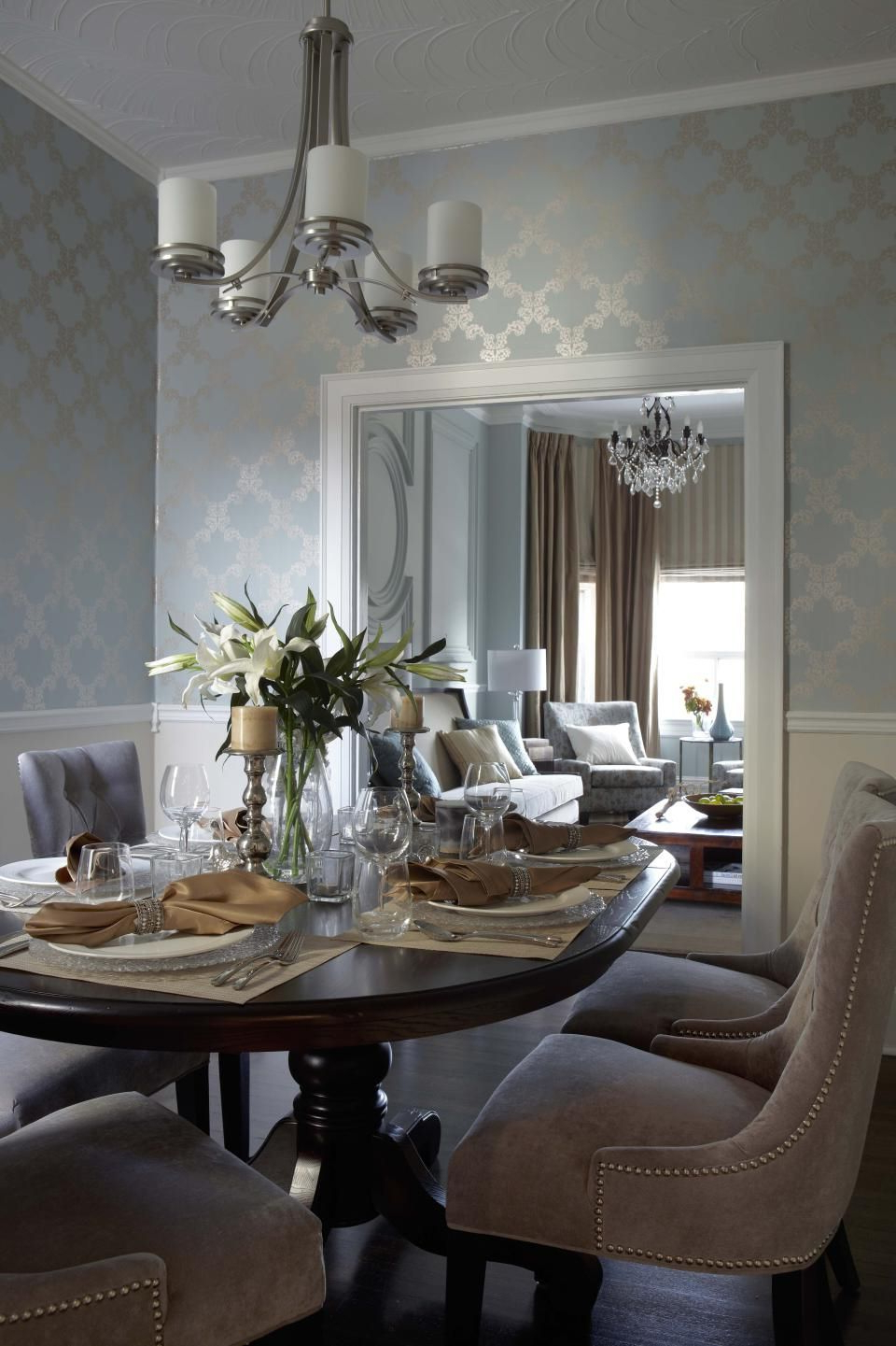 Trendy Shaw Dining Tables, English Brown Regarding Contemporary Transitional French Country Dining Room Design (View 9 of 25)