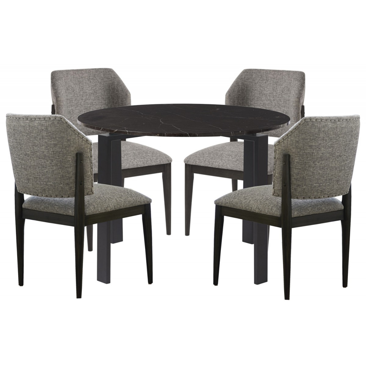 Universal Furniture Spaces Marshall 5Pc Dining Table Set- Black Marble  Top#736 in Newest Chapman Marble Oval Dining Tables