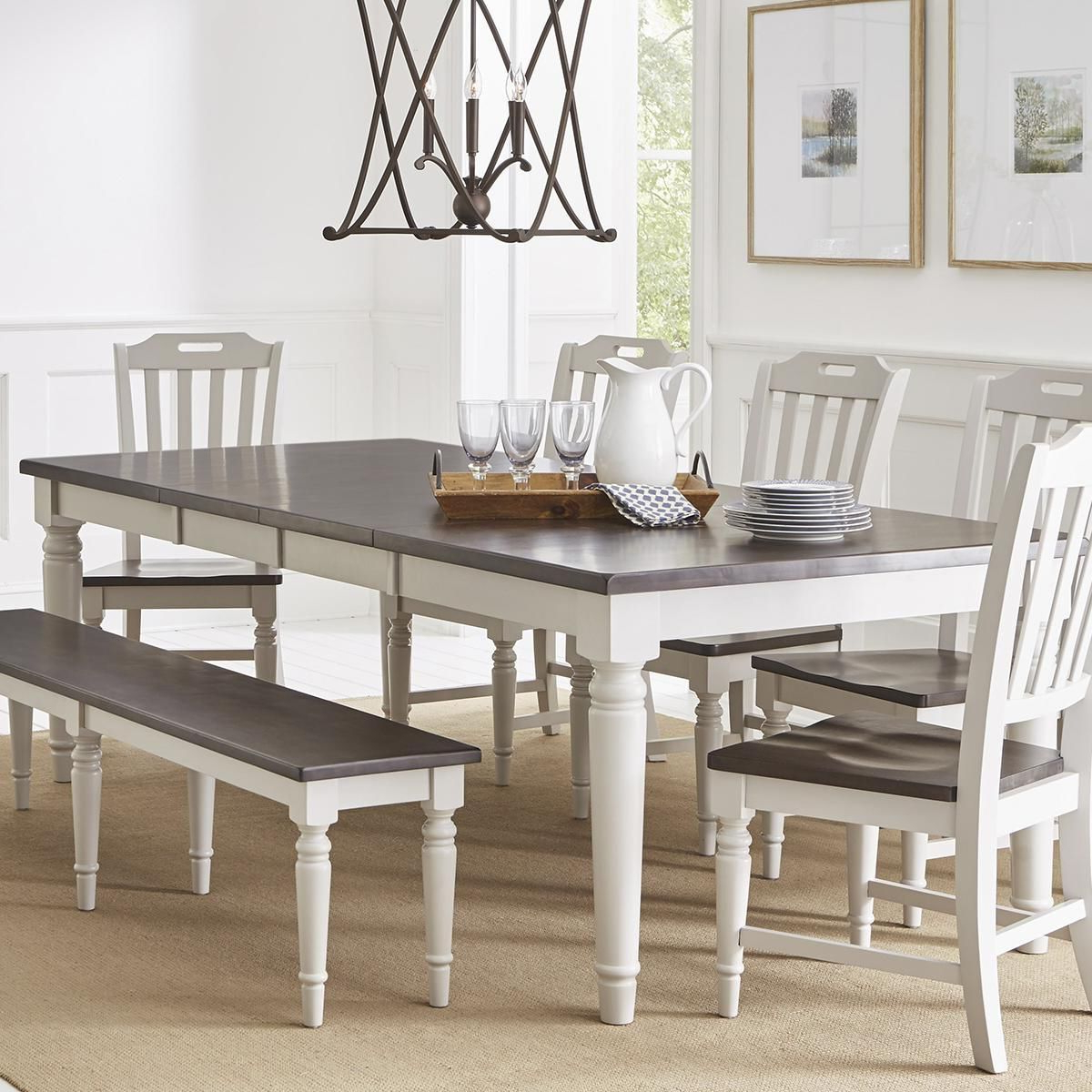 Waltham Orchard Park 6 Piece Dining Set In Dove Gray In Trendy Ingred Extending Dining Tables (View 11 of 25)