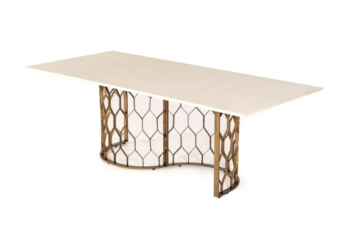 Well Known Vig Hk – Faye Dining Table White Concrete/antique Brass In White, Antique  Brass, Metal For Faye Dining Tables (View 4 of 25)