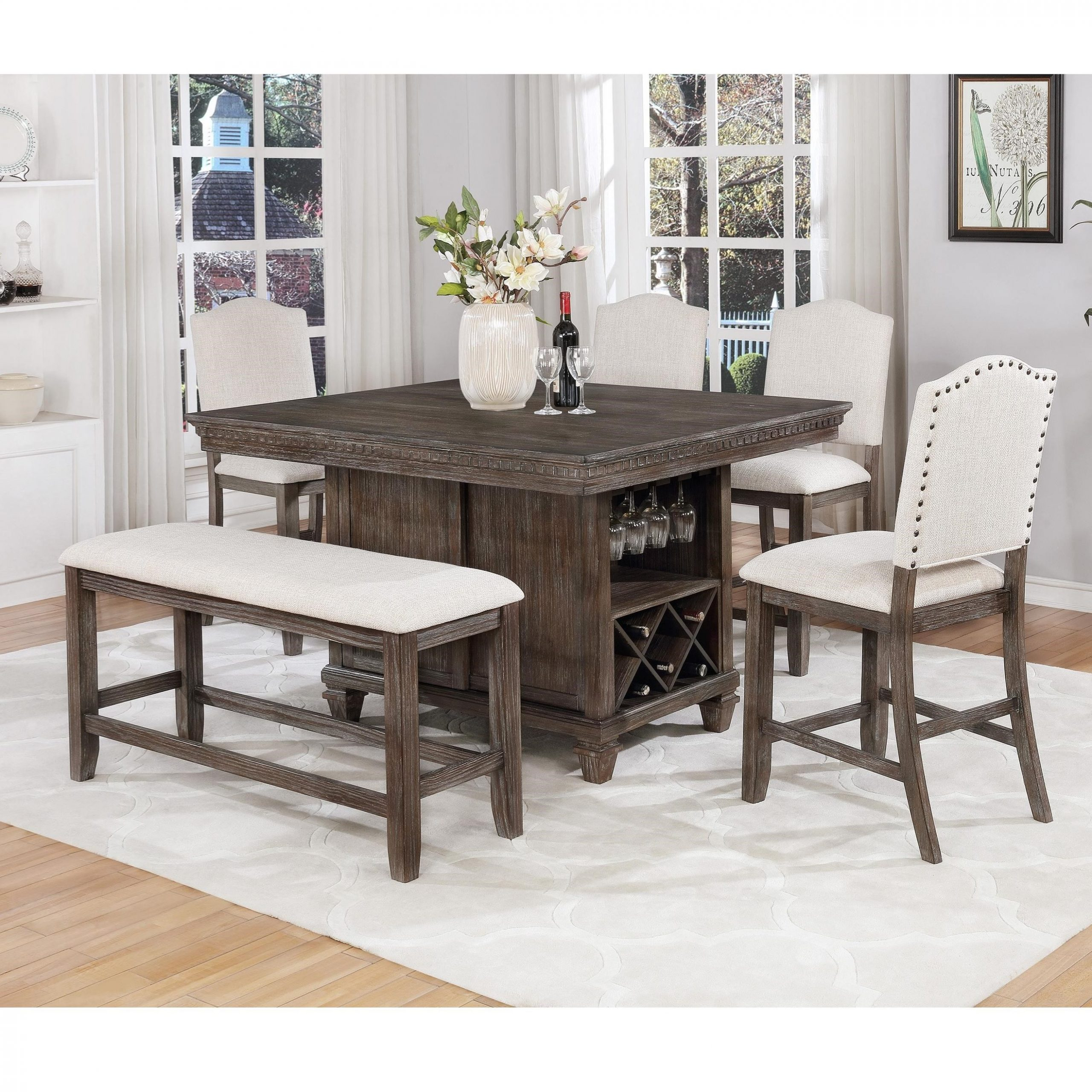 Well Liked Avondale Counter Height Dining Tables Throughout Regent 6 Piece Counter Height Dining Setdel Sol Cm At Del Sol Furniture (View 12 of 25)