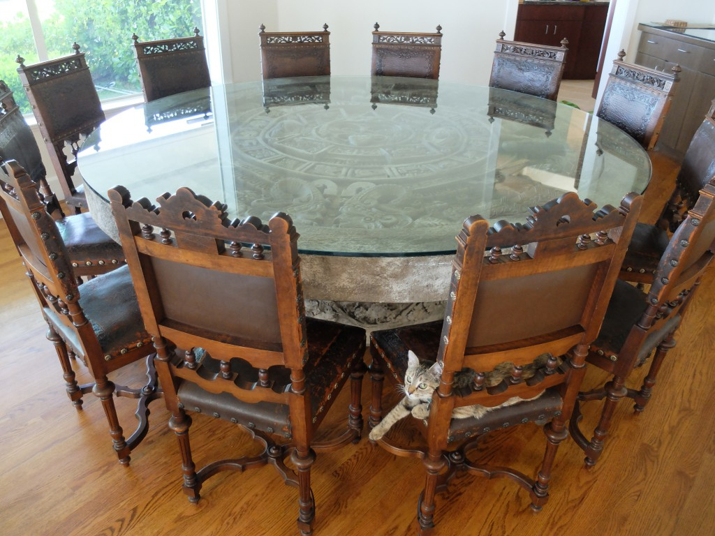Well Liked Aztec Round Pedestal Dining Tables For Client Spotlight: Antique Chairs & Aztec Calendar Stone (View 21 of 25)