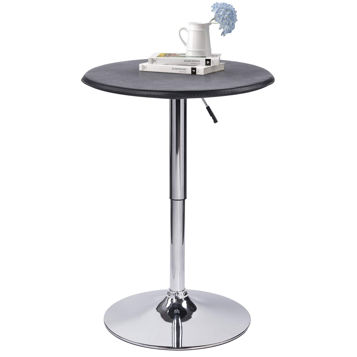 """Well Liked Modern Pub Table Adjustable Height 360 Swivel Round Kitchen Bar Table –  Faux Leather Top Cover, Metal Leg And Base – 24.4"""" Top And  (View 3 of 25)"""