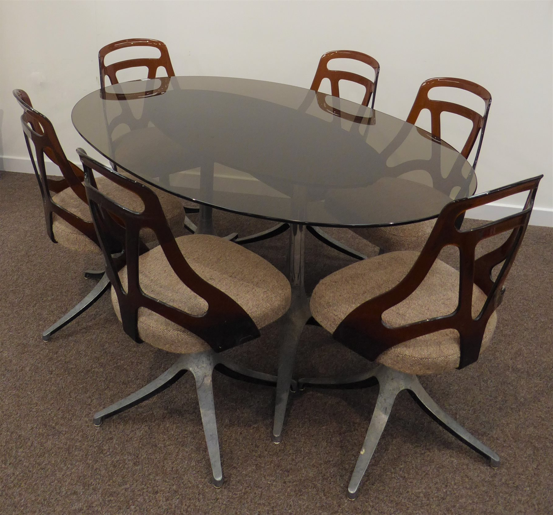 1970S Dining Table, Oval Smoked Glass Top On Twin Chromed With Most Recently Released Smoked Oval Glasstop Dining Tables (View 25 of 25)