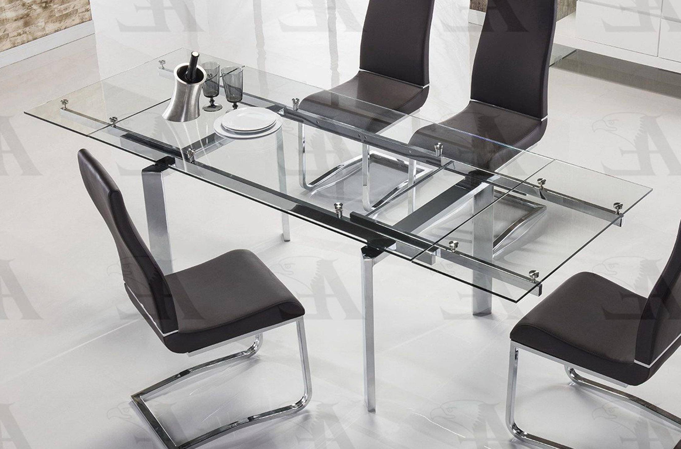 2019 American Eagle Furniture Tl 1134S C Clear Glass Top Extendable Dining Table Chrome Legs Throughout Modern Glass Top Extension Dining Tables In Stainless (View 15 of 25)