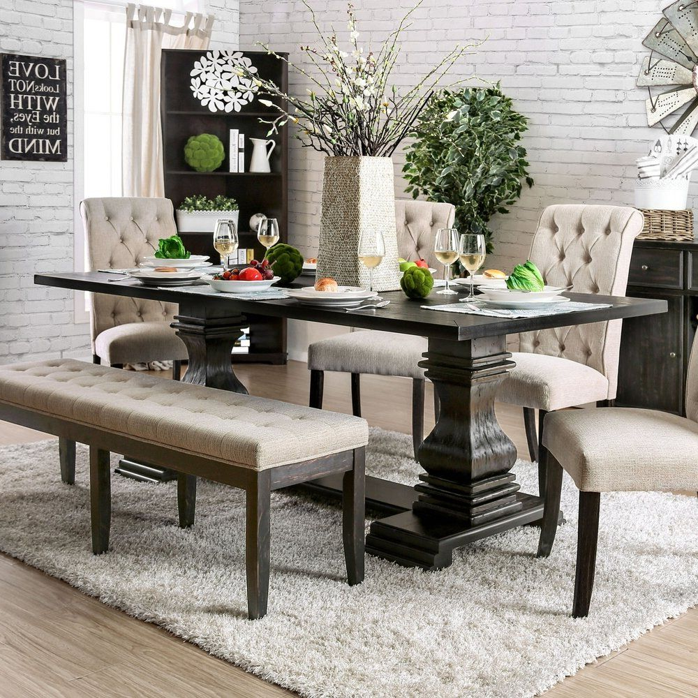 2019 Antique Black Wood Kitchen Dining Tables for Furniture Of America Reagan Transitional Antique Black 84