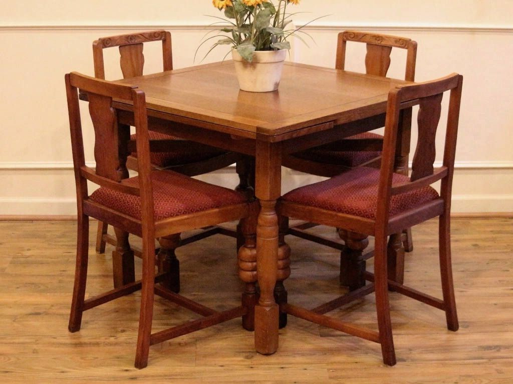 2019 Antique English Oak Draw Leaf Pub Dining Table And 4 Chairs intended for Transitional 4-Seating Drop-Leaf Casual Dining Tables