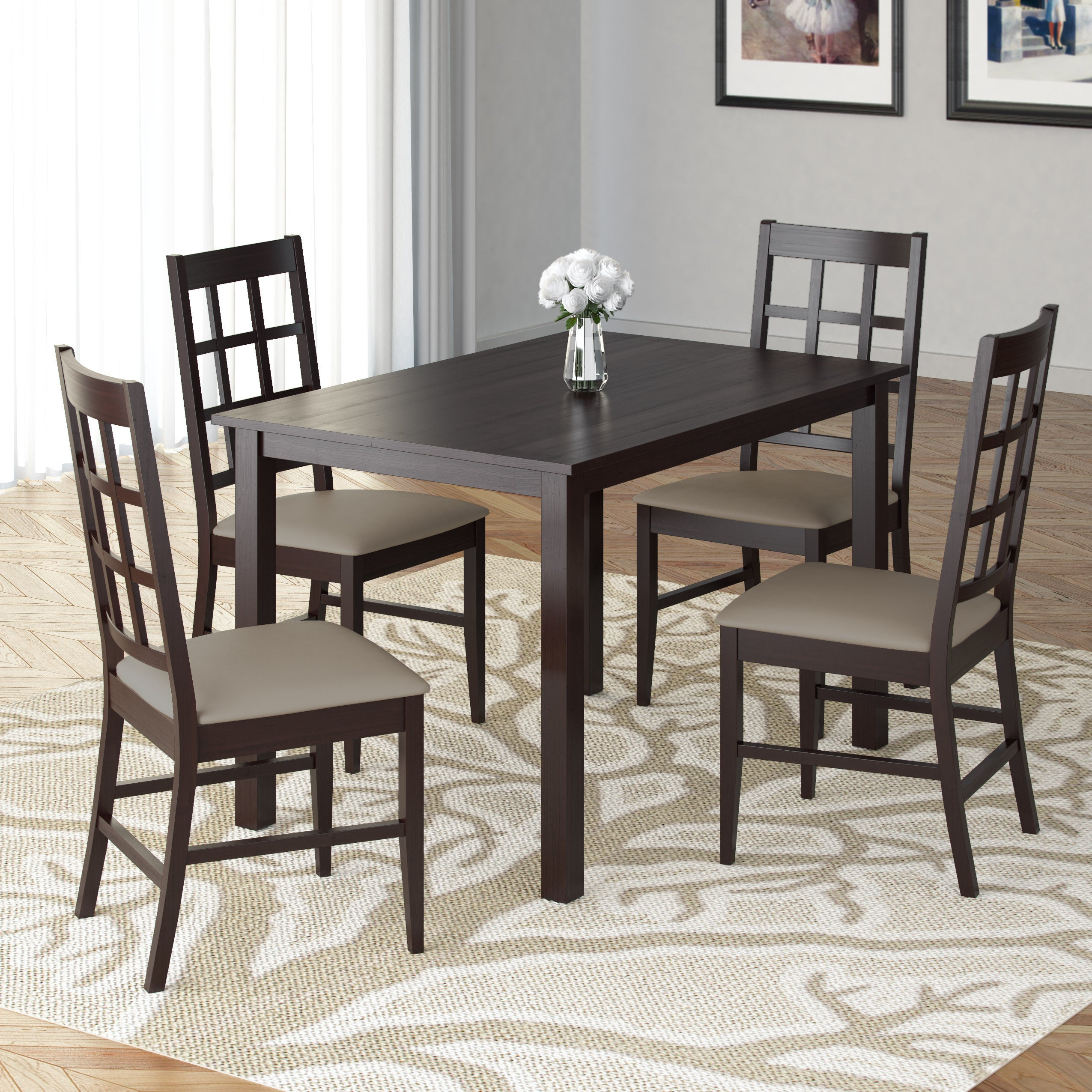 2019 Atwood Transitional Square Dining Tables Pertaining To Atwood 5Pc Dining Set With Taupe Stone Leatherette Seats (View 5 of 25)