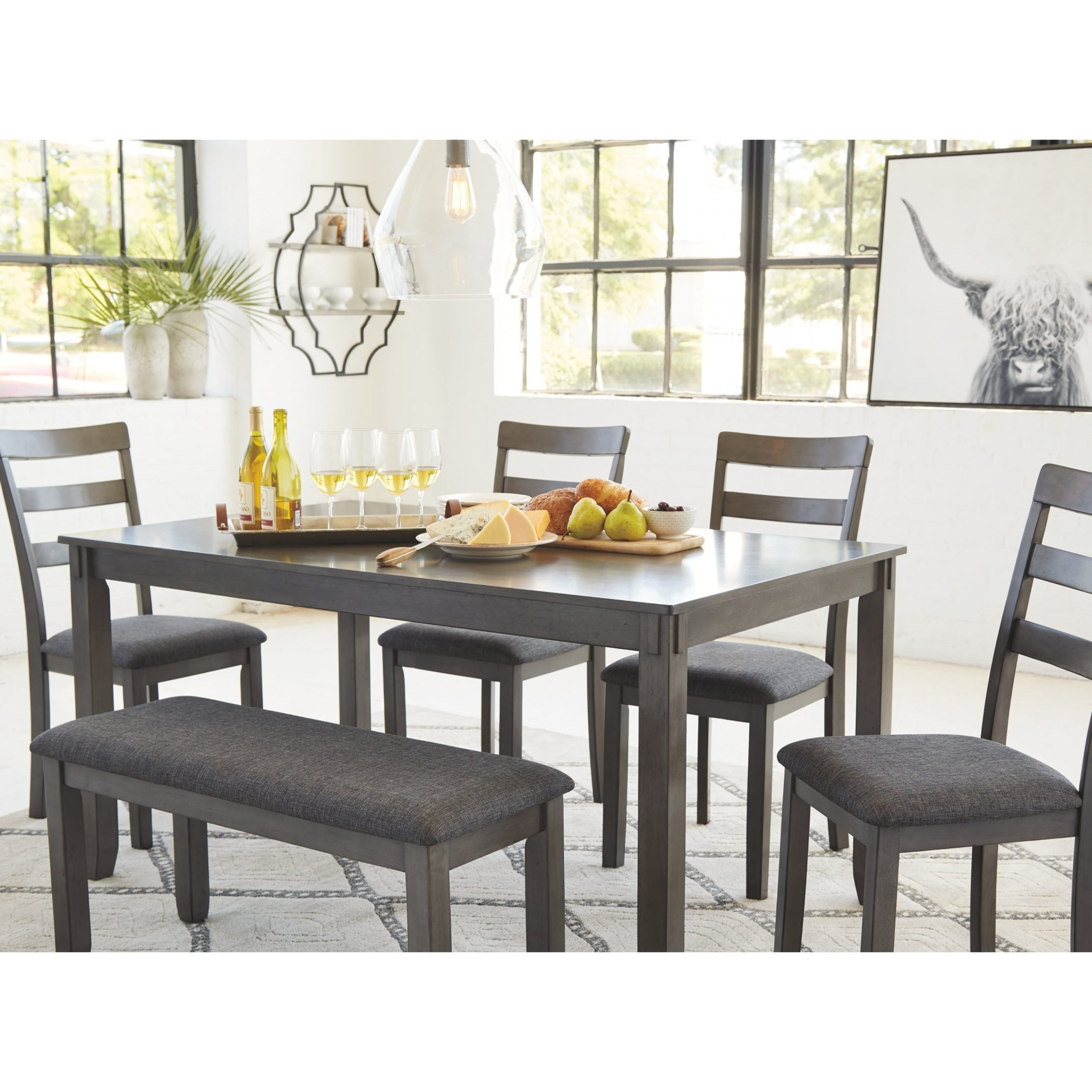 2019 Bridson Rectangular Dining Room Table Set Of 6 - Gray in Charcoal Transitional 6-Seating Rectangular Dining Tables
