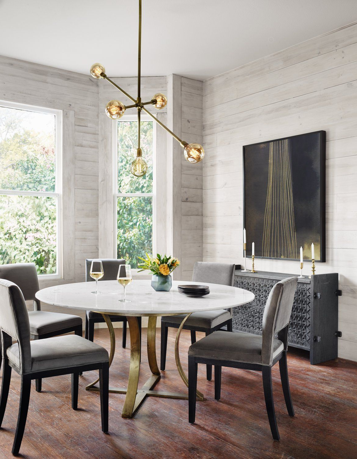 2019 Dining Tables With White Marble Top in Four Hands Gage Dining Table Room Brass Metal Base Marble