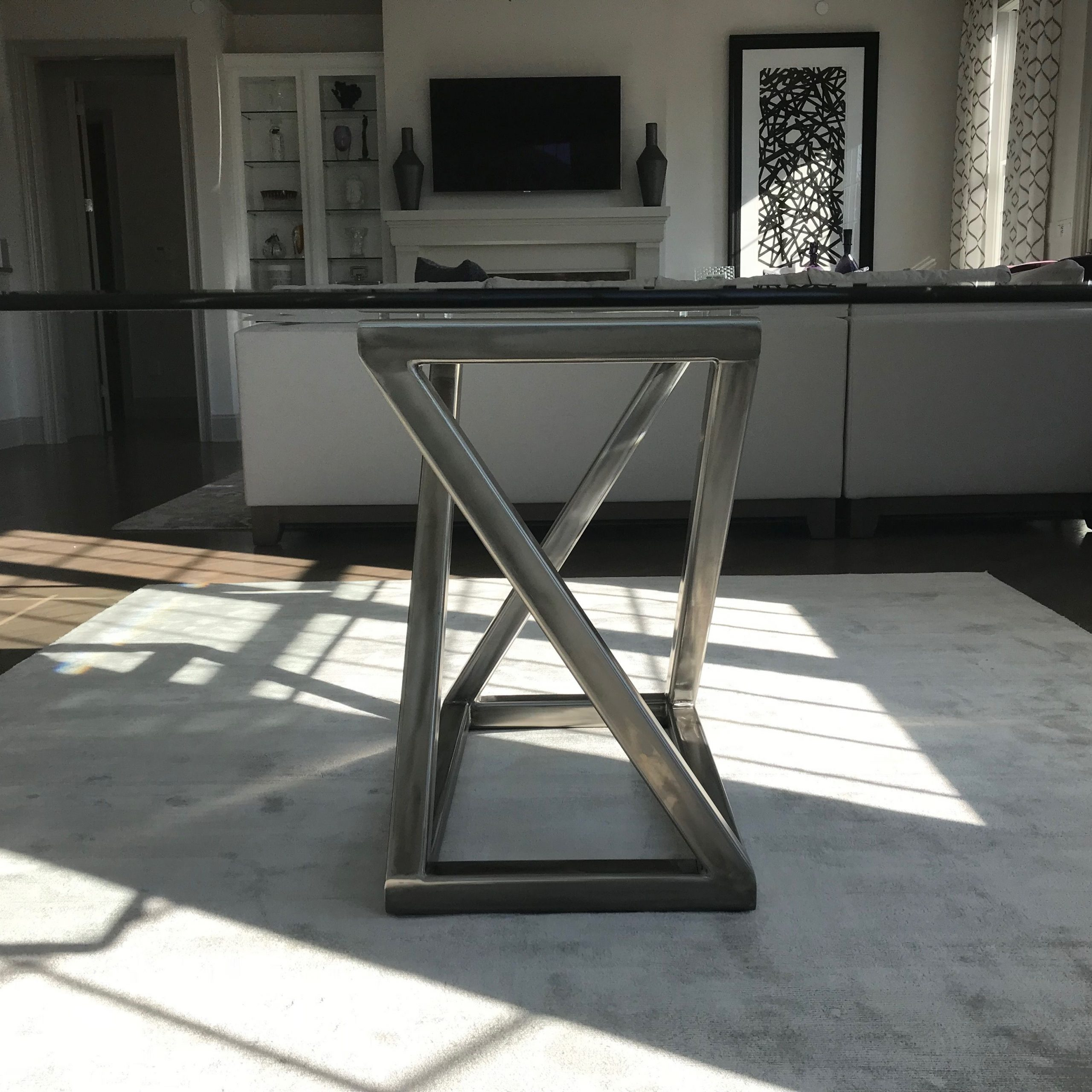 2019 Hand Made Stainless Steel Dining Table Pedestal Basee J Intended For Long Dining Tables With Polished Black Stainless Steel Base (View 13 of 25)