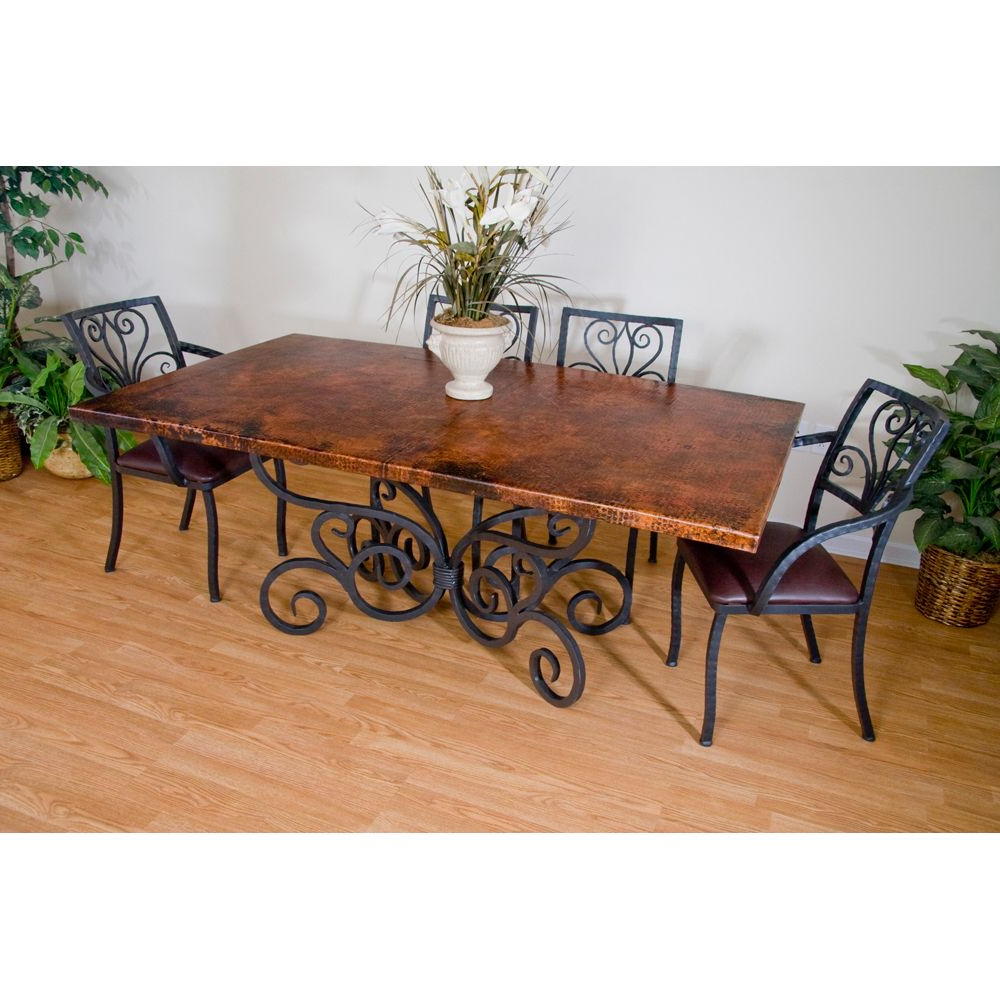 2019 Iron Wood Dining Tables inside Alexander Wrought Iron Dining Table And Arm Chairs