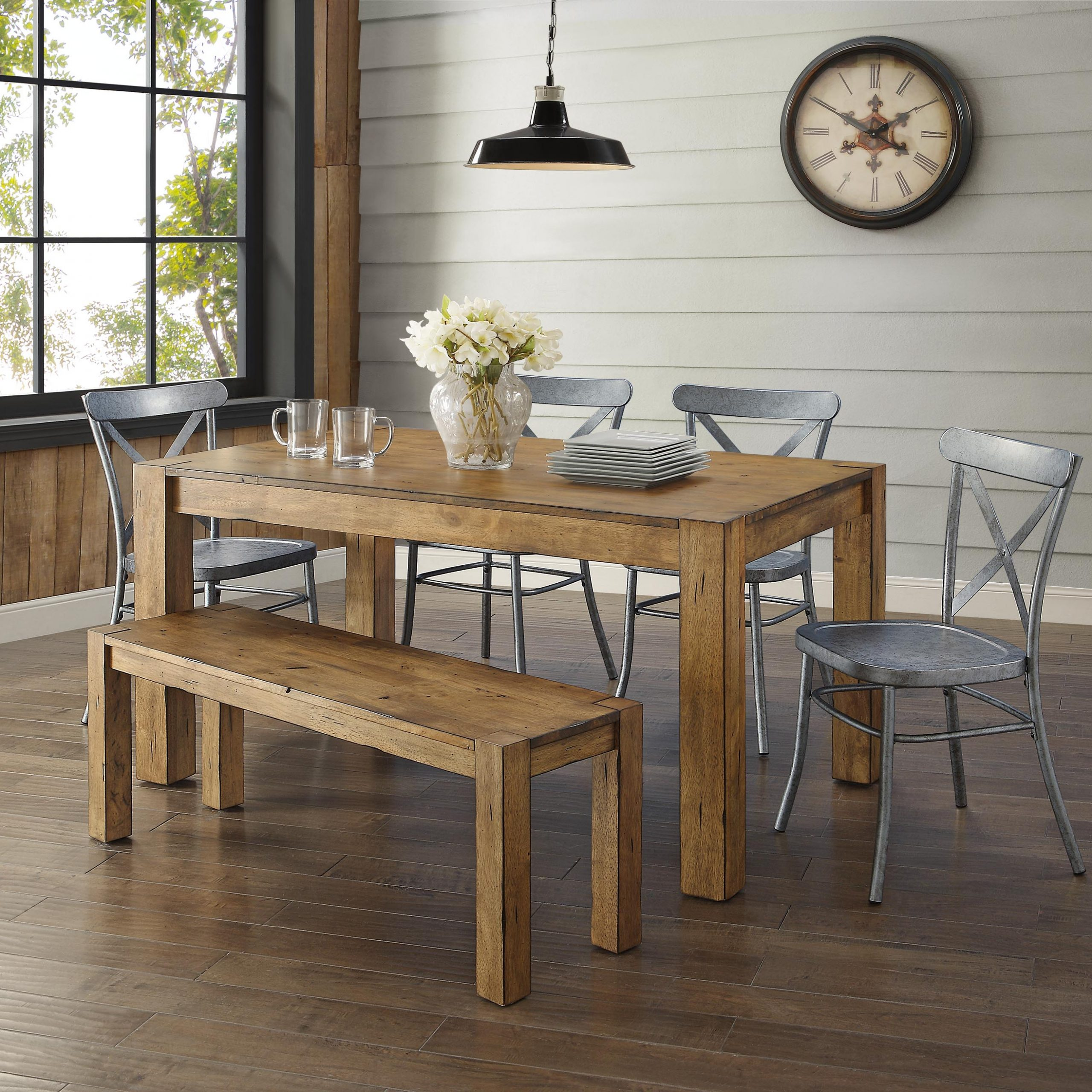 2019 Small Dining Tables With Rustic Pine Ash Brown Finish With Regard To Better Homes & Gardens Bryant Dining Table, Rustic – Walmart (View 14 of 25)