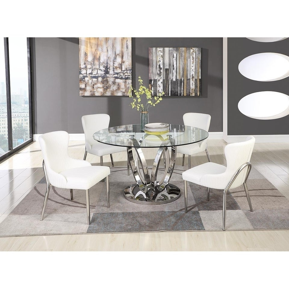 2019 Somette Ema Round Glass Top Dining Table Throughout Round Glass Top Dining Tables (View 16 of 25)