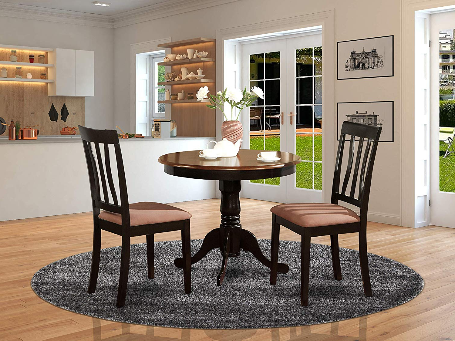 2020 Antique Black Wood Kitchen Dining Tables Pertaining To Anti3 Blk Lc 3 Pc Kitchen Table Set Breakfast Nook With 2 Kitchen Dining Chairs (View 17 of 25)