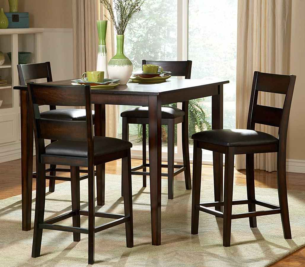 2020 Bistro Transitional 4-Seating Square Dining Tables with regard to Homelegance Griffin 5-Piece Counter Height Dining Set