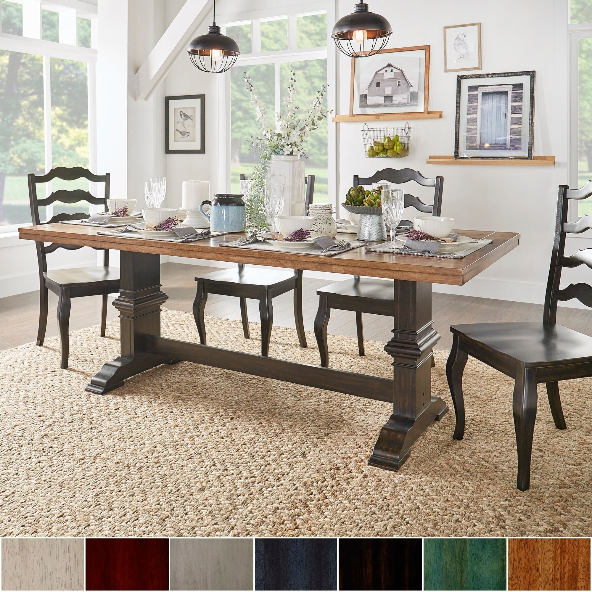 2020 Eleanor Two-Tone Rectangular Solid Wood Top Dining Tableinspire Q  Classic intended for Wood Top Dining Tables