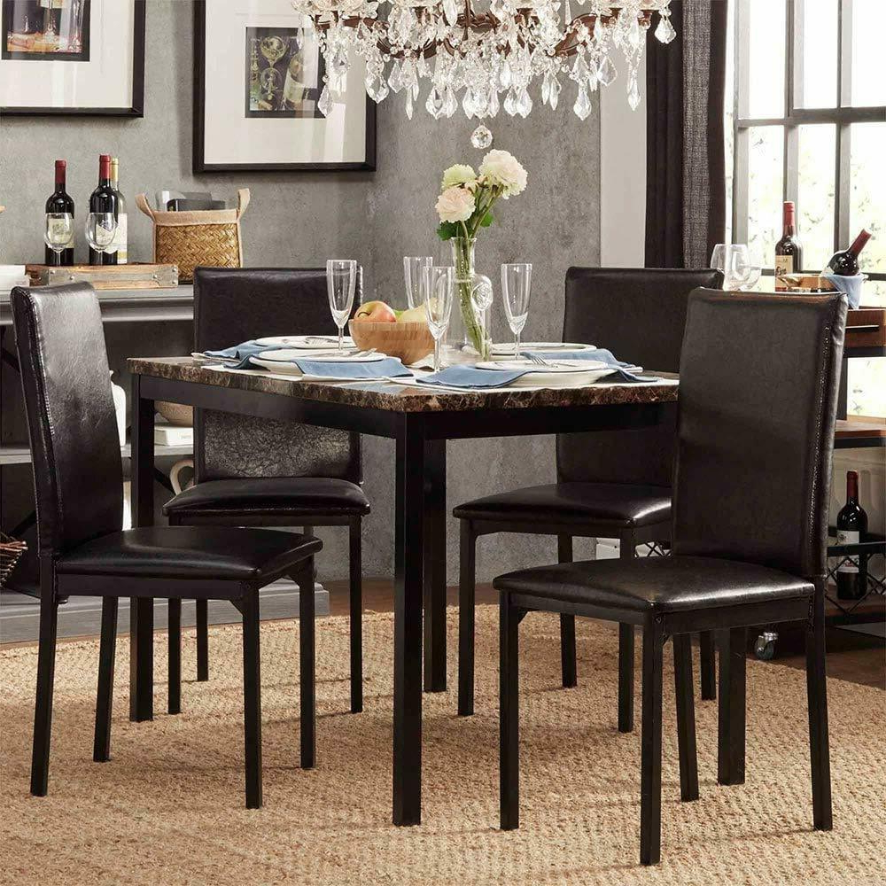 2020 Faux Marble Finish Metal Contemporary Dining Tables With Modern Faux Marble Top Metal Frame 5 Piece Dining Set – Black Finish (View 1 of 25)
