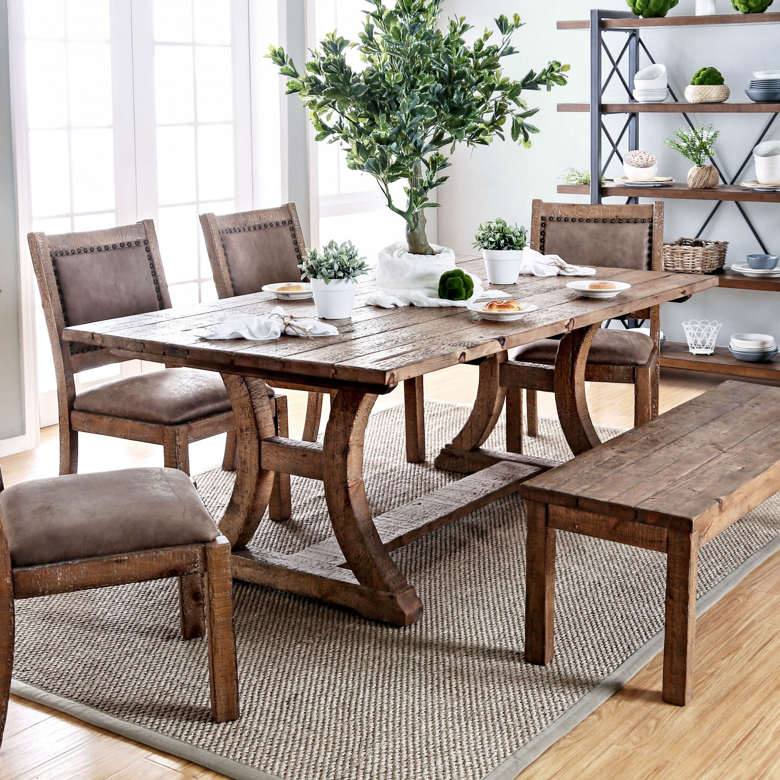 2020 Furniture Of America Sail Industrial Pine Solid Wood Dining Table within Rustic Pine Small Dining Tables